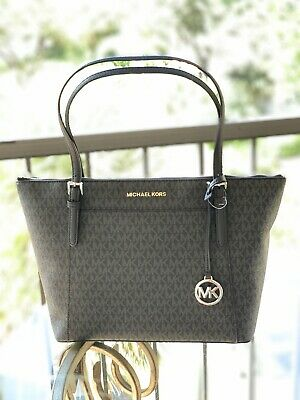Nwt Michael Michael Kors Mk Signature Pvc Jet Set Ew Top Zip Tote Bag Black