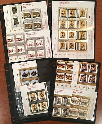 Masterpieces of Canadian Art plate block collection; postage face value = $47.30