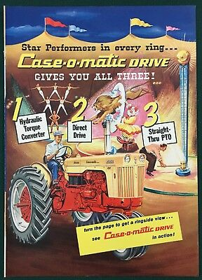 CASE TRACTORS & IMPLEMENTS 1950's  Lg 4-pg insert print ad. Case-o-matic Drive