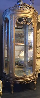 Gorgeous Vintage Gold Italian Curio Cabinet Rococo French Provincial style