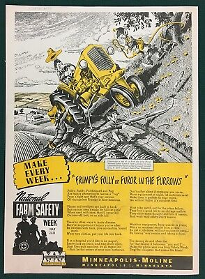 1952 MINNEAPOLIS-MOLINE TRACTOR Large Ad, National Farm Safety Week, Elves.
