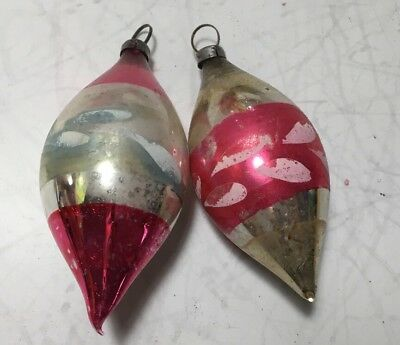 Lot Of Two Antique Glass Painted Christmas Ornaments