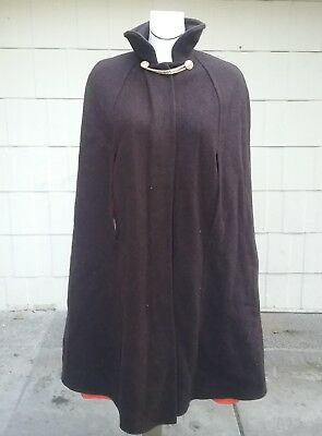 Amazing Vintage Military Style Wool Cape  I.Magnin Poncho Cape 1960s Hippy OS