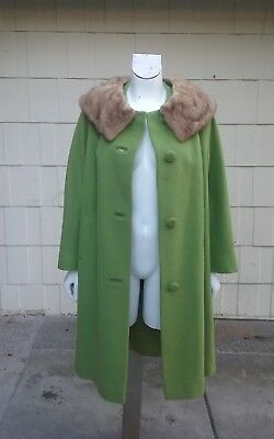 Vtg 1950s 1960s Mink Collar LIME GREEN MOD Swing  Pinup Wool Coat Jacket  S M L