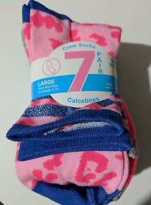 Girls 7 Pack crew socks multi colored size L 4-10 NEW