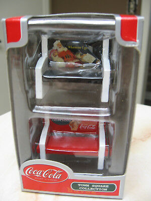 Coca Cola Town Square Accessory- 2 Park Benches  - #8Ts2Resinbenches -  Nib 2002