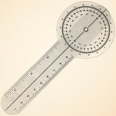 6 inch Clear Plastic Goniometer - 360°