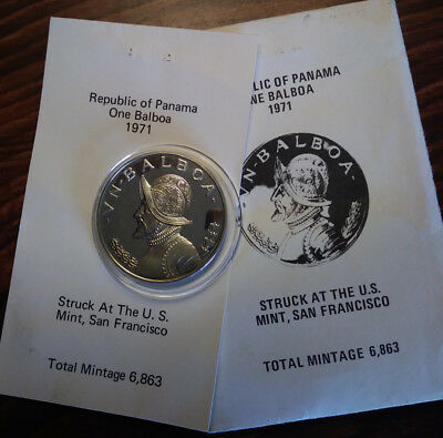 Panama 1971 Vn Balboa Silver .900 Coin Proof Low Mintage