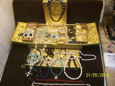 Vintage To Modern Lot Of Junk  Jewelry With Large Buxton Jewelry Box