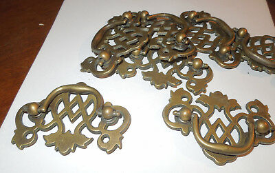 Lot of 10 Solid  Dull Brass drop handle  Drawer pulls  Basket Weave design..