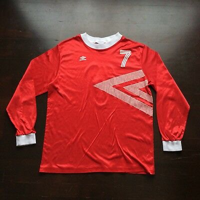 Vintage Umbro 80s Red Long Sleeve Soccer Jersey #7 Mens XL Fits Large USA