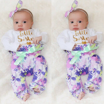 Newborn Baby Girl Floral Outfits Cotton Jumpsuit Romper+Pants+Headband Clothes