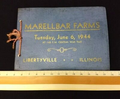 Beef Cattle Auction Booklet Book Marellbar Farms 1944 Ww2 Libertyville Ill Rare