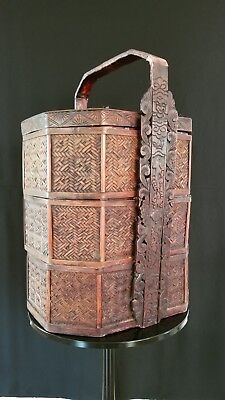20th C. Chinese A Three -Tiered Woven Bamboo Wedding/Lunch Basket