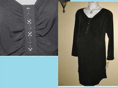 Maternity Black Dress 2x 3x Plus Size Stretchy Embellished Sparkle NWT NEW