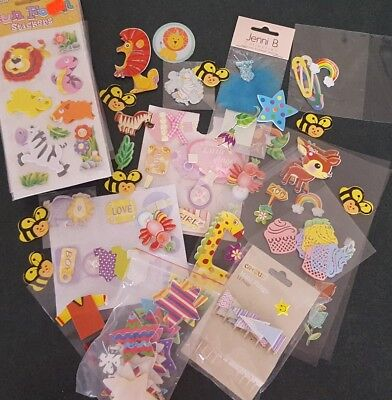 Bundle of mixed embellishments for craft kids baby themed