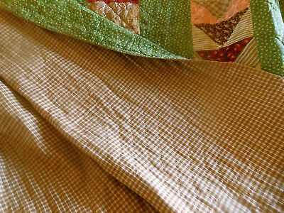 Antique Poison Green Madder Calico Flying Greese Quilt Brown Homespun Fabric
