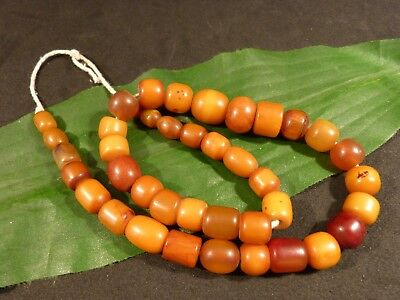 ANTIQUE BUTTERSCOTCH AFRICAN AMBER RESIN BEADS STRAND 19.5  inch pumtekman