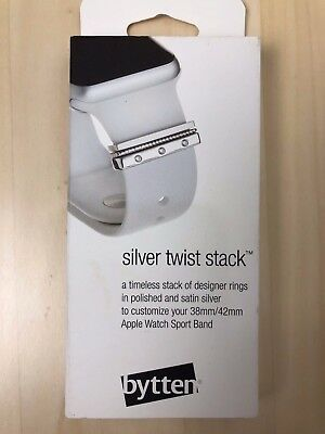 NEW Bytten Twist Stack for 38 42mm Customize Apple Watch Sport Band Silver