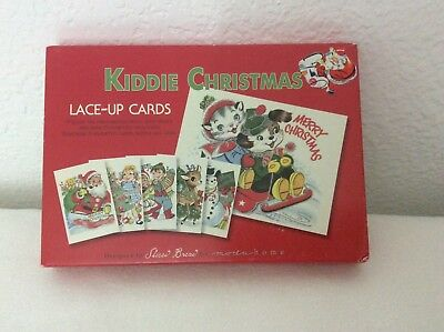 Moda Kiddie Christmas Lace-up Cards Vintage Inspired NEVER USED Sliced Bacon