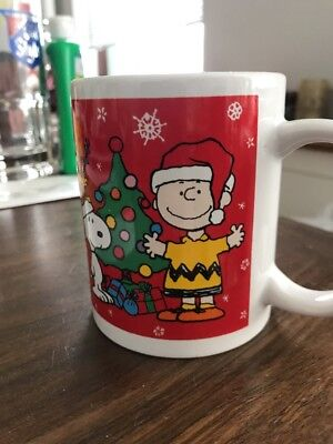 Peanuts Christmas Mug Charlie Brown Snoopy Woodstock Decorating Tree HO HO HO