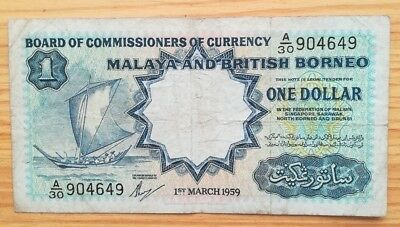 Malaya & British Borneo 1959 $1 by Commissioners of Currency