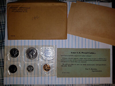 1960-P U.s. 5-Coin Silver Proof Set In Original Envelope, Sealed In Mint Pack
