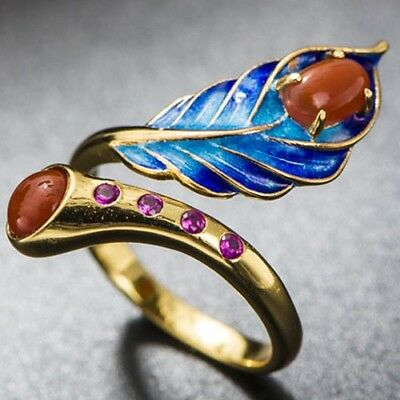 Natural Red Agate & Pink Sapphire 925 Sterling Silver Cloisonne Craft Ring