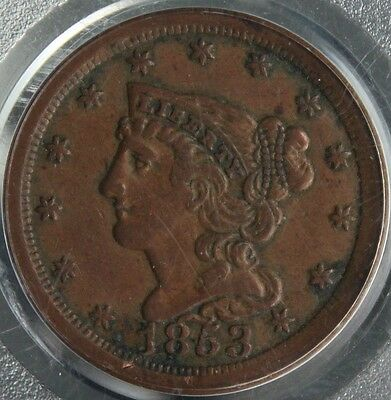 #~☆WOW☆~ 1853 Braided Hair Half Cent AU-55  PCGS CHEAPEST one on Ebay