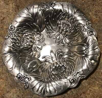 """7"""" Sterling Silver Candy Dish Bowl Floral Pattern GORGEOUS unique- nuts, bonbons"""