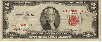 1953 $2 US Note, Red Seal, Medium to High Grade Note (R-177)