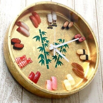 OH-REAL MADE In JPN Gift SUSHI Watch L Gold Food Samples Wall Clock