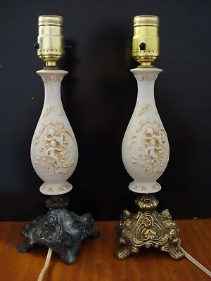 Vintage Pair of Cherub Angel Brass Claw Foot Table Lamps w/Original Lampshades!