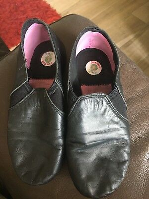 Girls Black Dance Shoes ?size (Fits Size 2-3 In Normal Shoes) Worn