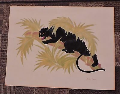Vintage Black Panther Picture**  Panther and leaves raised
