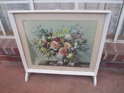 Vintage Framed Floral Print By Vernon Ward Wooden Fire Screen