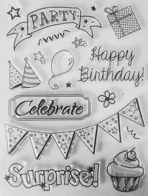 NEW• HAPPY BIRTHDAY PARTY STAMPS SET - Clear Unmounted Stamping Stamp Sheet
