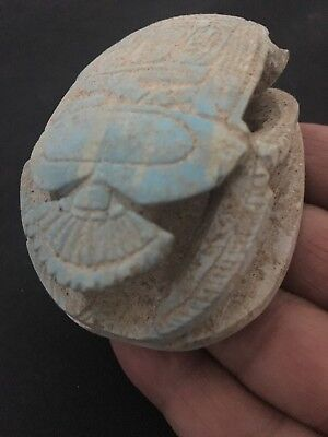 Rare Ancient Egyptian Blue Scarab 26th DYN 680 BC