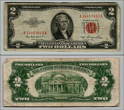1953 $2 Dollar Bill Old Us Note Legal Tender Paper Money Currency Red Seal Q627