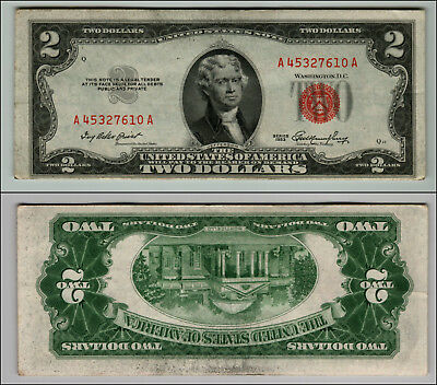 1953 $2 Dollar Bill Us Note Legal Tender Paper Money Currency Red Seal J425