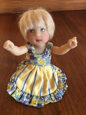 """Helen Kish 6in. Blond Baby Doll, SIGNED, Chrysalis """"Clancy""""?"""