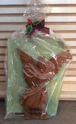 "BYERS CHOICE :: 8"" TRUMPET ANGEL ORNAMENT Carved Resin TRADITIONS Gift Wrapped"