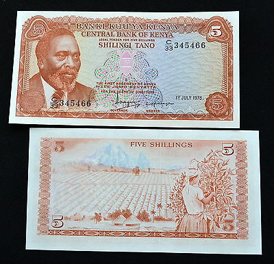 Kenya 5 Shillings 1978. P-15. UNC. 1PCS.  Africa  Money.