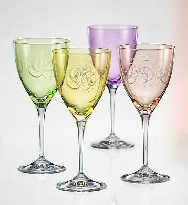 Set Of Four White Or Red Wine Glasses Engraved Lead-Free Crystal Glass Bohemi...