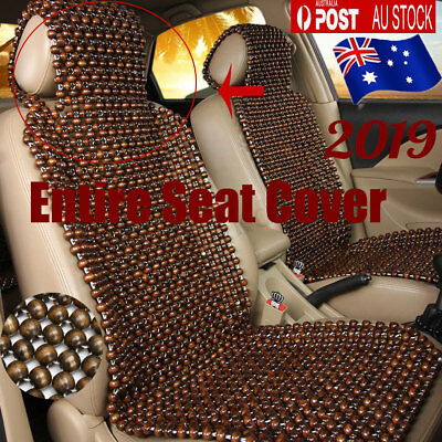 Natural Wooden Beaded Car Auto Taxi Seat Cover Bead Cushion Pad Massage Back AU
