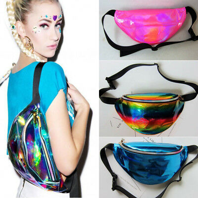 Fashion Women Fanny Pack PU Laser Purse Waist Chest Bag Hip Bag Youth Sport Bag