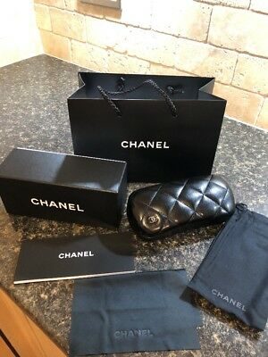 Brand New Chanel Quilted Glasses Case With Cloth, Box And Booklet And Gift Bag