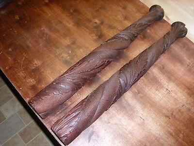 Antique matching pair of Carved wood posts wow!