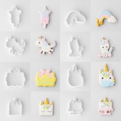6/8pcs/set Tool Embossing Mould Cake Cutters Unicorn Cookie Mold Biscuit Decor