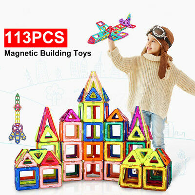 AU 113 Piece Kids Magnetic Blocks Building Toys For Boys Girls Magnet Tiles Kits
